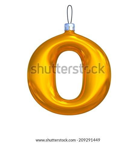 Letter O. Golden shining christmas ball. Alphabet isolated on white background. - stock photo