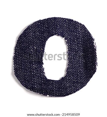 Letter O. Jeans alphabet Isolated on White. Handmade font. - stock photo