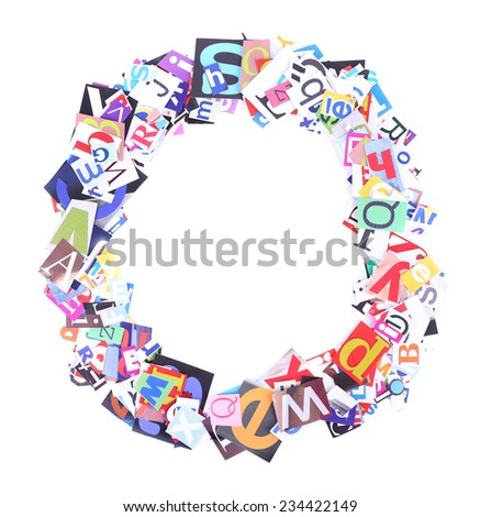 Letter O made of colorful newspaper letters isolated on white - stock photo