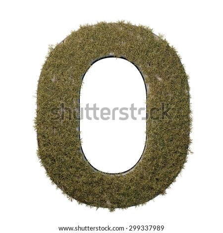 Letter O made of dead grass, growing on wood with metal frame - stock photo