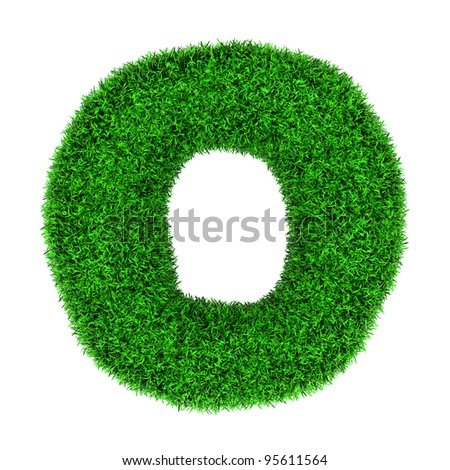 Letter O, made of grass isolated on white background. - stock photo