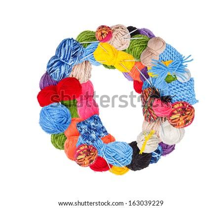 Letter O made of knitting yarn isolated on white background - stock photo