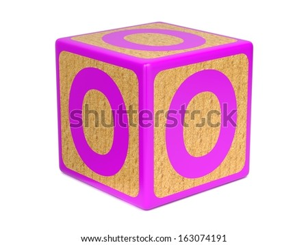 Letter O on Pink Wooden Childrens Alphabet Block  Isolated on White. Educational Concept. - stock photo