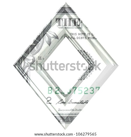Letter O one dollar wrapped. - stock photo