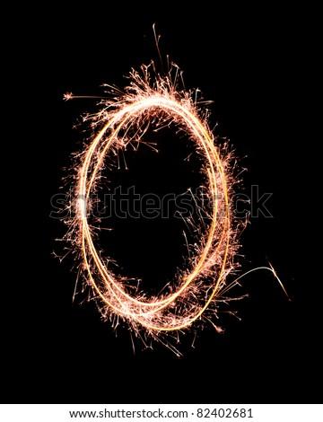Letter O. Real sparkler alphabet - stock photo