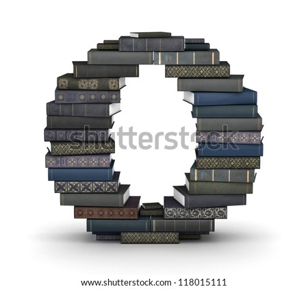 Letter O, stacked from many  books in pile - stock photo