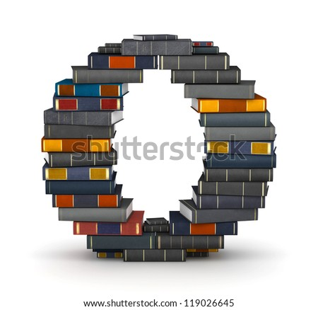Letter O, stacked from many encyclopedia books in pile - stock photo