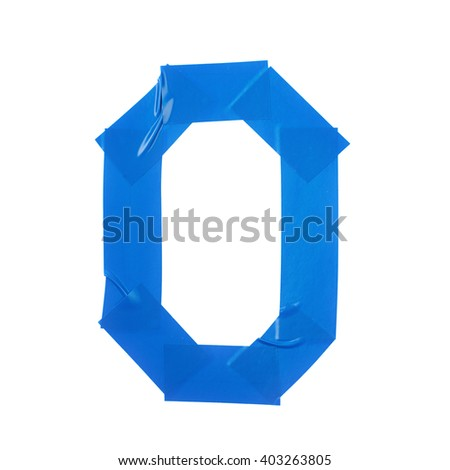 Letter O symbol made of insulating tape pieces, isolated over the white background - stock photo