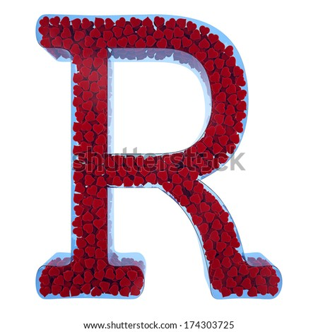 letter of R from blue glass. Filled with red hearts from a velveteen in 3d. Isolated on a white background - stock photo