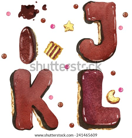 letter of the alphabet. decorative chocolate text and sweet biscuits. watercolor - stock photo