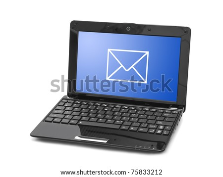 Letter on notebook screen isolated on white background - stock photo