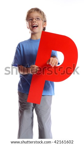 """Letter """"P"""" boy - See all letters in my Portfolio - stock photo"""
