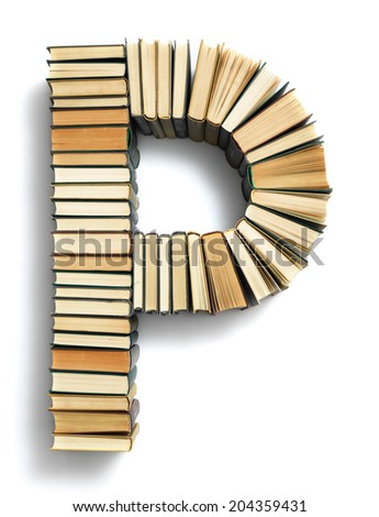 Letter P formed from the page ends of closed vintage hardcover books standing on a white background from a set or series of numbers