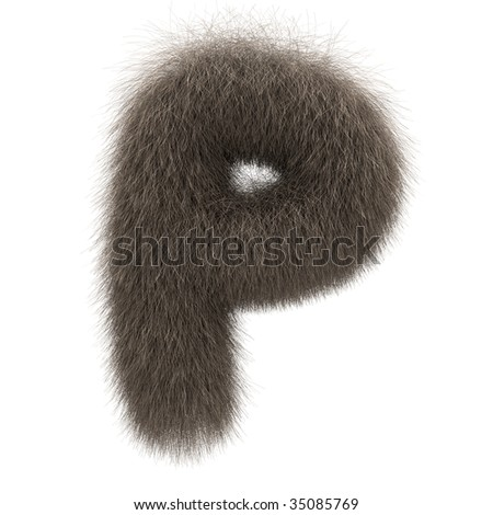 Letter P from fur alphabet - stock photo