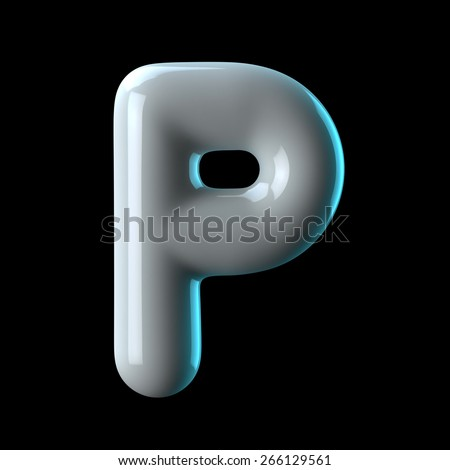 Letter P from round white blue light alphabet. There is a clipping path - stock photo