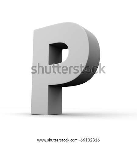 Letter P from solid alphabet. There is a clipping path
