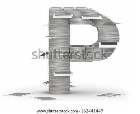 Letter P, from stacks of paper pages font - stock photo