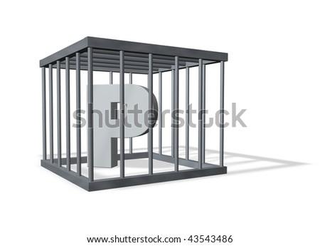 letter p in prison - 3d illustration - stock photo