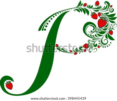 Letter P isolated on white. Romantic letter of beautiful strawberry. Floral Alphabet. Illustration - stock photo