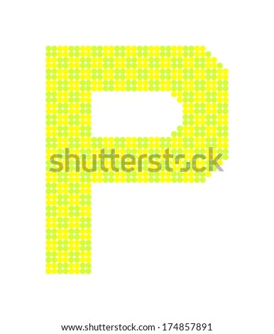 Letter P made from dots - stock photo
