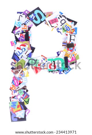 Letter P made of colorful newspaper letters isolated on white - stock photo