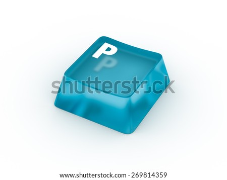 Letter P on transparent keyboard button - stock photo