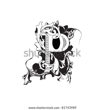 Letter P Ornate Black and White - stock photo