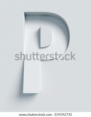 Letter P slanted 3d font engraved and extruded from the surface - stock photo