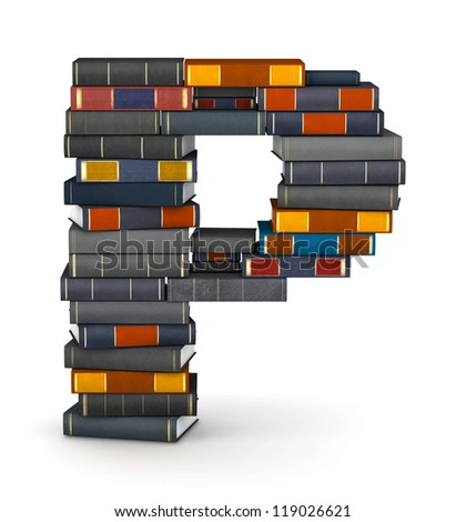 Letter P, stacked from many encyclopedia books in pile - stock photo