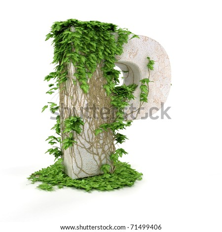 Letter P threads covered with ivy isolated on white background. - stock photo