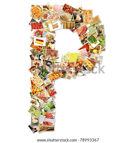 Letter P with Food Collage Concept Art - stock photo