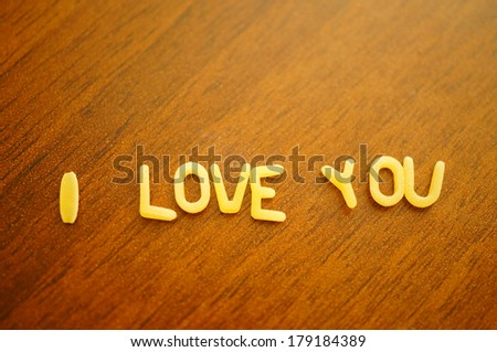 Letter pasta creating the word I Love You - stock photo