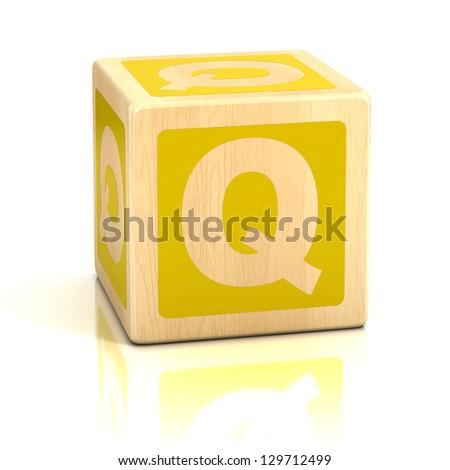 letter q alphabet cubes font - stock photo
