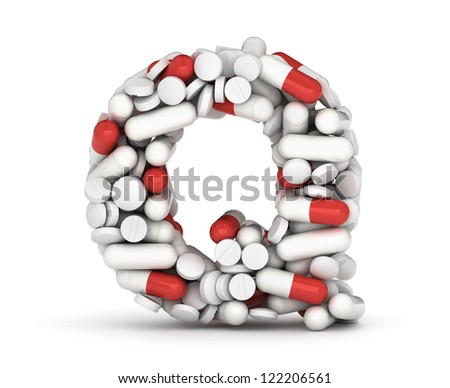 Letter Q, alphabet of medicine pills - stock photo