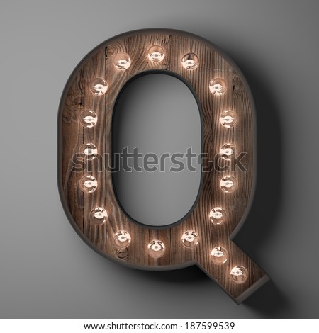 Letter Q for sign with light bulbs - stock photo