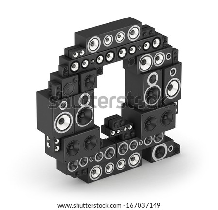 Letter Q from black hi-fi speakers sound systems  in isometry - stock photo