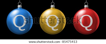 Letter Q from cristmas ball alphabet. There is a clipping path - stock photo