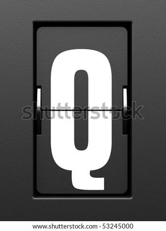 Letter Q from mechanical scoreboard alphabet - stock photo