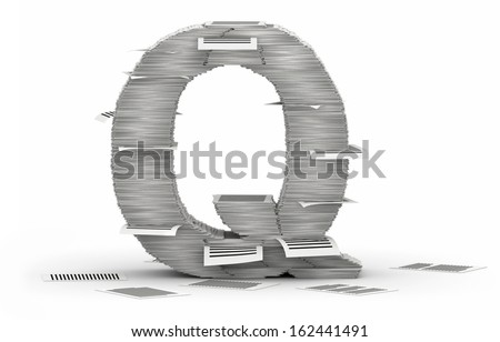 Letter Q, from stacks of paper pages font - stock photo