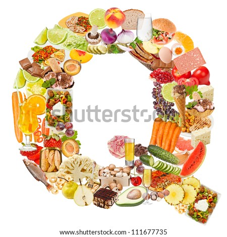 Letter Q made of food isolated on white background - stock photo