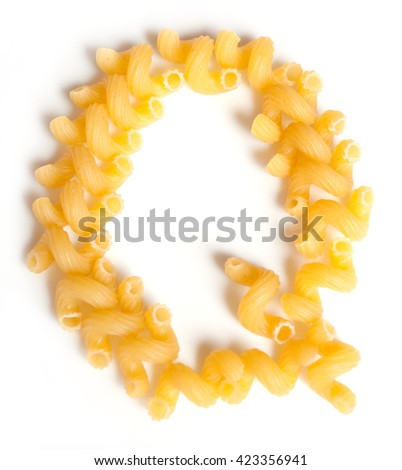 Letter Q made of macaroni under a daylight isolated on white background