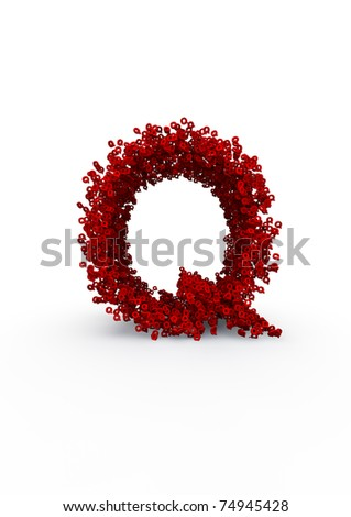 letter Q made of thousands of smaller ones easy to colorize