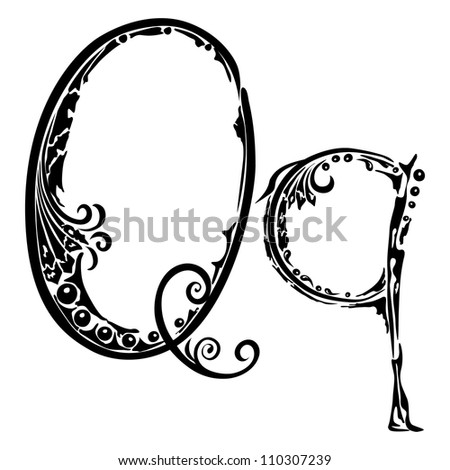 Letter Q q in the style of abstract floral pattern on a white background - stock photo