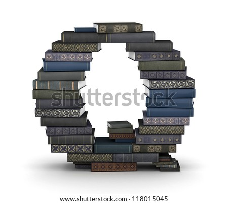 Letter Q, stacked from many  books in pile - stock photo