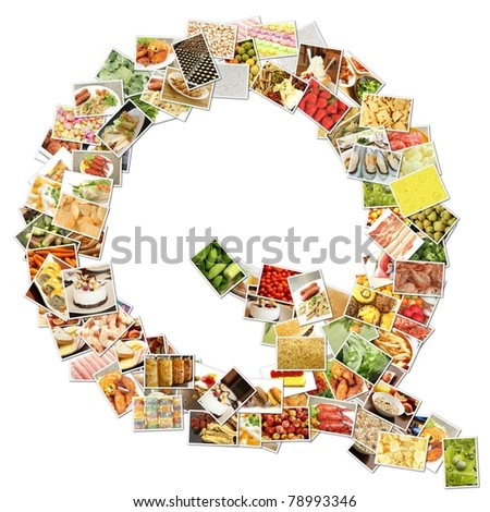 Letter Q with Food Collage Concept Art - stock photo