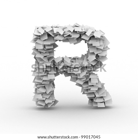 Letter R,alphabet from paper sheets in stack