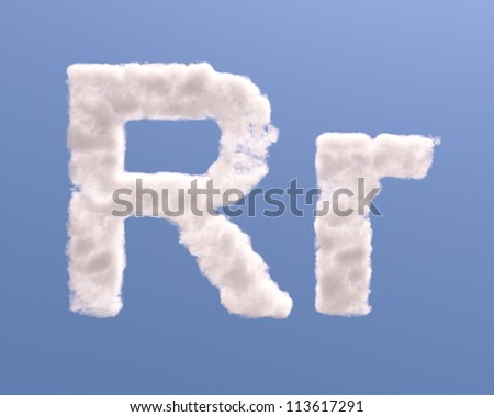Letter R cloud shape, isolated on white background - stock photo