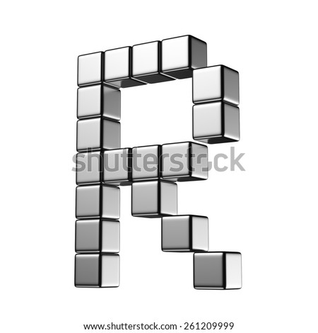 Letter R from digital cube middle perspective alphabet. There is a clipping path - stock photo