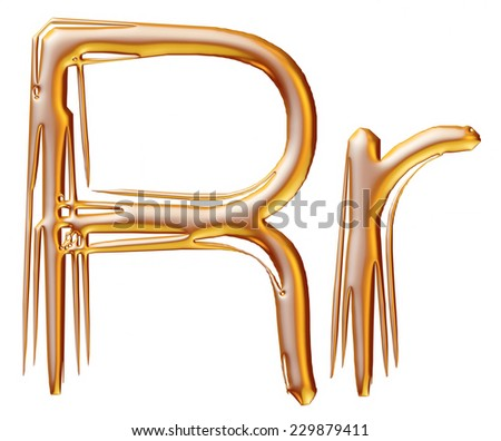 Letter R from gold solid alphabet on isolated white.