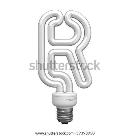 Letter R from lamp alphabet. There is a clipping path - stock photo